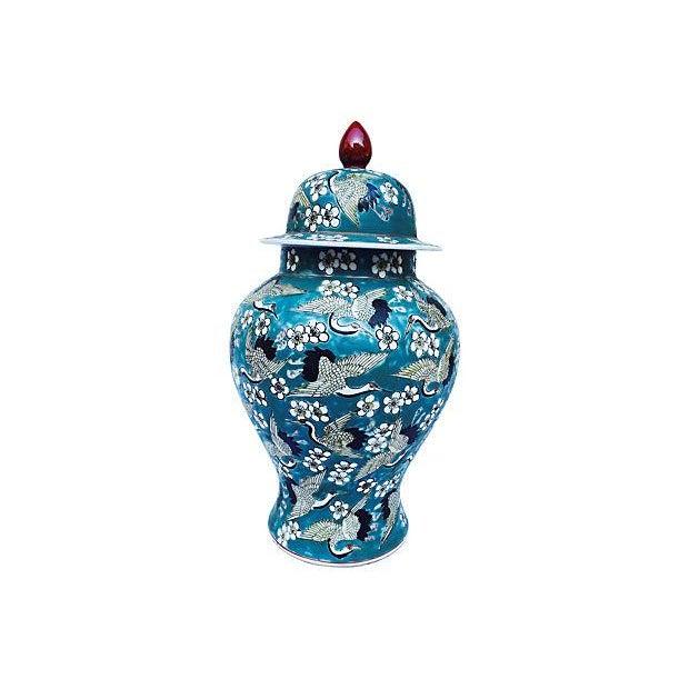 Blue Oriental Crane & Flower Jar - Image 2 of 5
