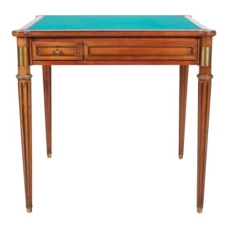 Mid-Century Green Felt Top Convertible Game Table For Sale