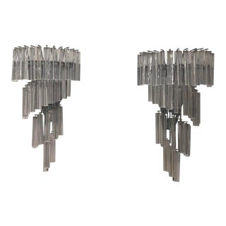 1960s Mid Century Modern Italian Murano Wall Sconces - a Pair For Sale