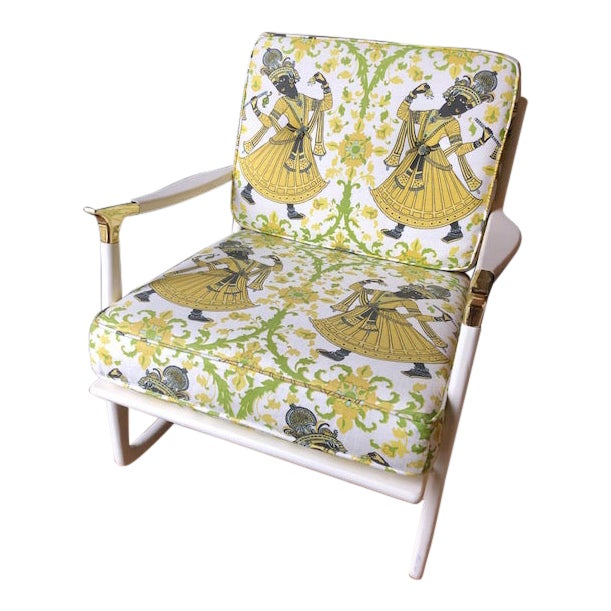 "Lacquered Christopher Farr's ""Dancer"" Fabric Rocking Chair For Sale"