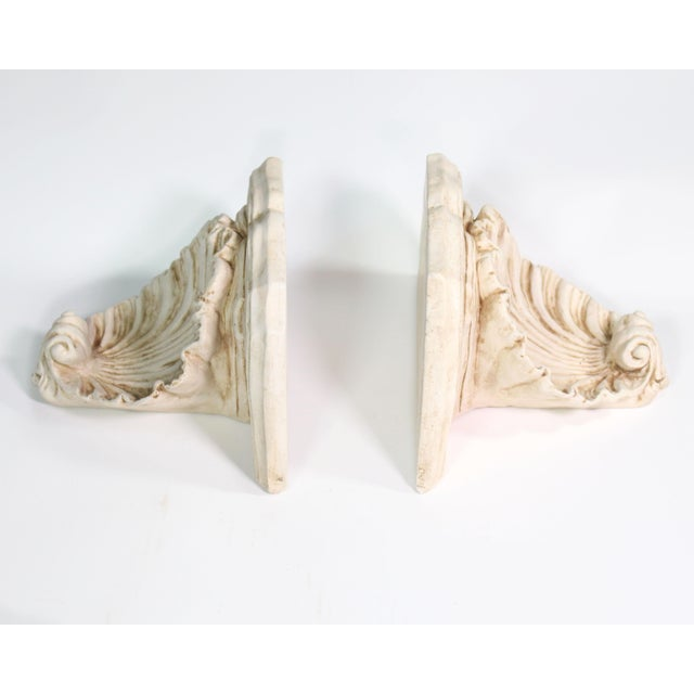 """These are genuinely vintage solid plaster wall shelves sizable enough to display decent statues, busts or vases (11"""" wide..."""