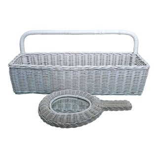 20th Century French Country Wicker Storage Basket & Mirror Set - 2 Pieces For Sale