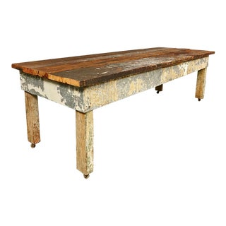 Rustic Wood Plank Top Country Table For Sale