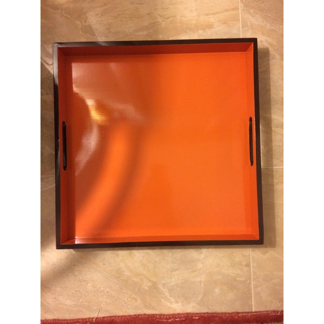 "Great 16"" bamboo square orange lacquer Hermès style serving/bar tray with espresso rim. This is a softer toned down..."