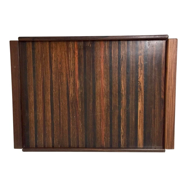 Large Rosewood and Exotic Wood Tray by Don Shoemaker for Senal, S.A. For Sale