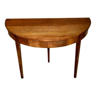 Vintage Walnut Three Leg Wall Mounted Console Table For Sale