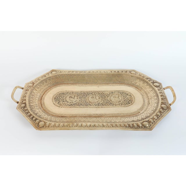 Indo Persian Brass Charger Serving Tray For Sale - Image 9 of 9