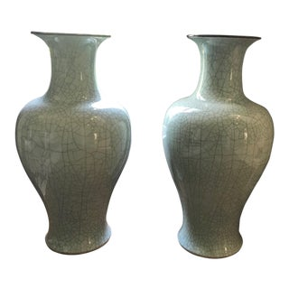 Maitland Smith Celadon Urns - a Pair