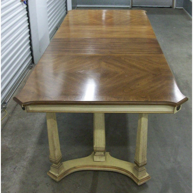 "Stanley Furniture French Provincial rectangular trestle table. Table is 66"" long with the wwo added Leafs for a total of..."