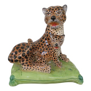 Vintage Palm Beach Style Ceramic Pair of Leopards on a Pillow For Sale