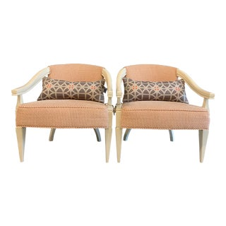 Mid-Century Modern Vintage Club Chairs and Lumbar Companion - Pair For Sale