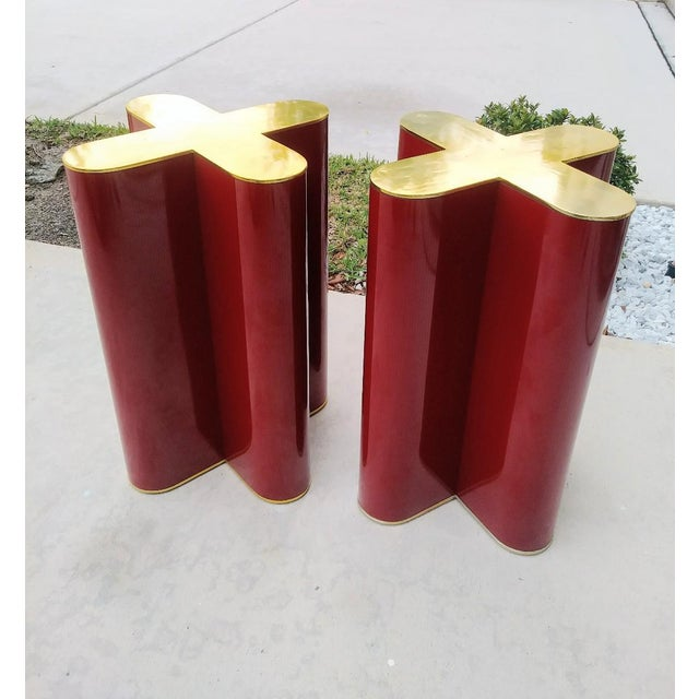 "A Pair Mid Century Modern Cherry Red and Brass ""X"" Style Table Bases Attributed to Curtis Jere For Sale - Image 11 of 11"