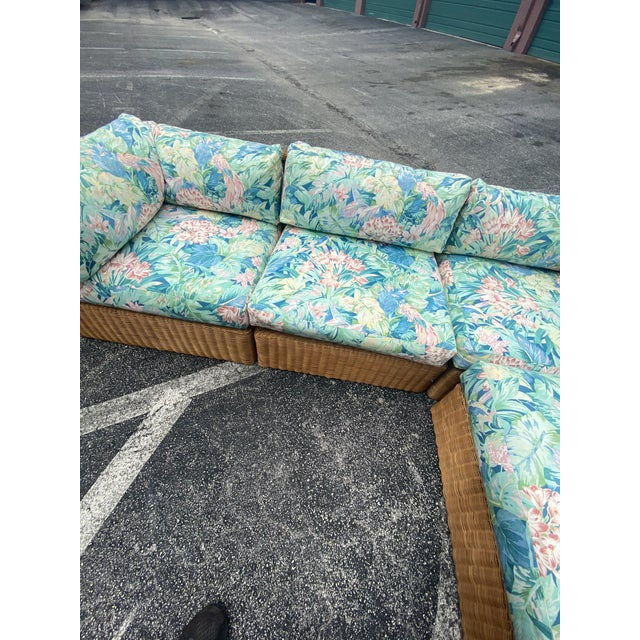 Mid 20th Century Vintage Coastal Woven Rattan Printed Sectional For Sale - Image 5 of 13