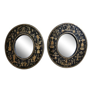 Early 20th Century Regency Inlaid Black Lacquered Mirrors - a Pair For Sale
