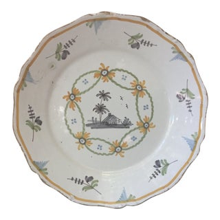 1780 French Faience Nevers Plate For Sale