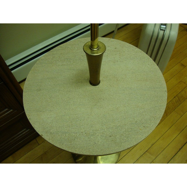 MCM Floor Lamp with Travertine Marble Table - Image 4 of 10