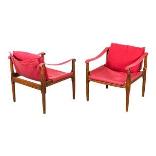 1960s Douglass Heaslet Oak Safari Chairs - a Pair For Sale