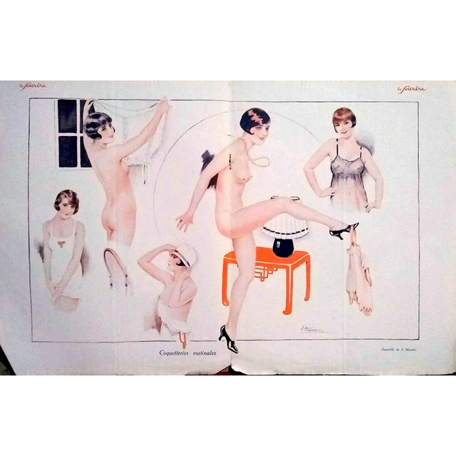 """Suzanne Meunier 1926 """"Coquetteries Matinales"""" Le Sourire Print For Sale In Los Angeles - Image 6 of 6"""