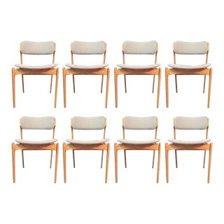 Mid-Century Modern Erik BuchOak Dining Chairs, Inc. Reupholstery - Set of 8 For Sale