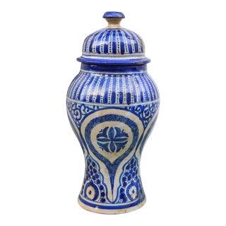 Blue Ceramic Lidded Urn For Sale