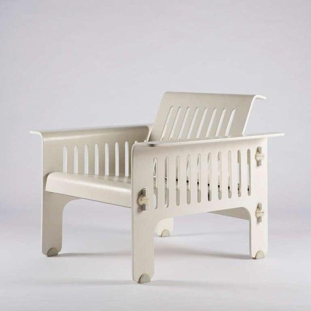 """Rare pair of """"Triennale"""" armchairs by Titina Ammannati and Giampiero Vitelli for Rossi di Albizzate. White lacquered..."""
