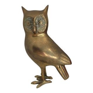 Hollywood Regency Style Mid Century Brass Owl Figurine For Sale