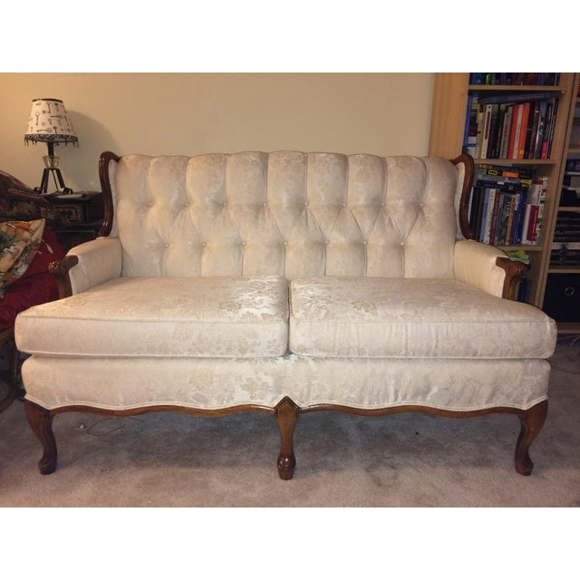 Victorian Style White Brocade Loveseat - Image 3 of 4