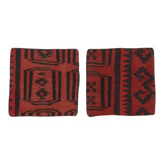 Handwoven Afghan Kilim Face Throw Pillow Covers For Sale