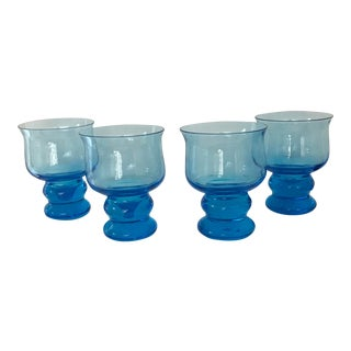 Vintage Hand Blown Rocks Glasses Aqua Blue Turquoise - Set of 4, (10 Available) For Sale