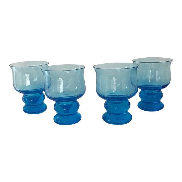 Vintage Hand Blown Rocks Glasses Aqua Blue Turquoise - Set of 4, (10 Available) For Sale