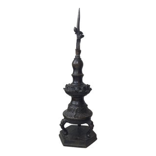 Antique Japanese Bronze Finial For Sale