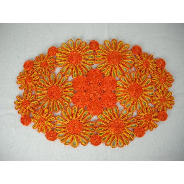 1970s Floral Raffia Placemats - Set of 4 - Image 4 of 9