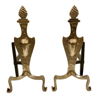 1920s Vintage Art Deco Hammered Metal Flame Andirons For Sale