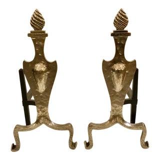 1920s Vintage Art Deco Hammered Metal Flame Andirons