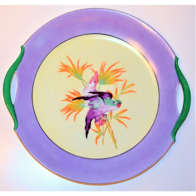 Antique Lilac Moschendorf Bavaria Cake Plate With Parrots For Sale In Houston - Image 6 of 10