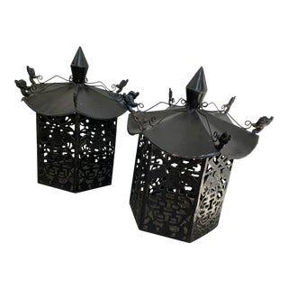 Chinese Pagoda Lanterns - a Pair For Sale