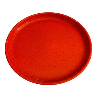 Vintage Gainey Ceramics Mid Century Orange Planter Saucer For Sale