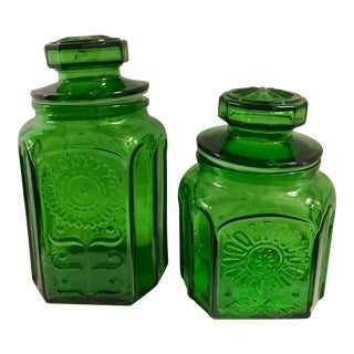 Vintage Green Glass Flower Canister Jars - a Pair