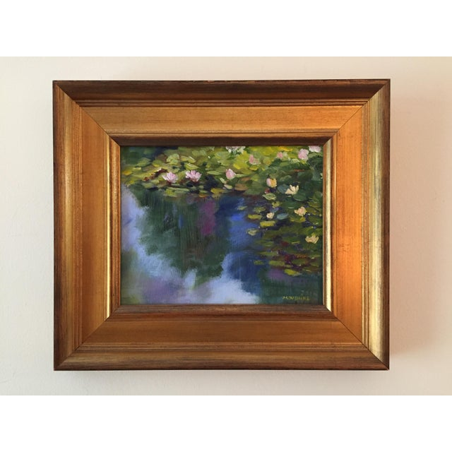 """Dark Green """"Waterlilies"""" Contemporary Plein Air Landscape Oil Painting by Marina Movshina, Framed For Sale - Image 8 of 8"""