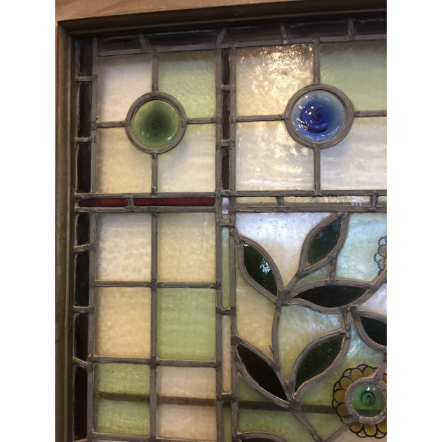 Brown Beautiful 1920's English Stained Glass Door For Sale - Image 8 of 11