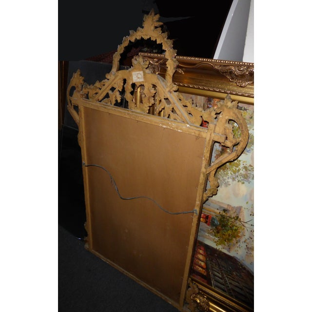 Large Vintage French Italian Rococo Ornately Carved Gold Gilt Wall Mantle Mirror Made in Italy - Image 11 of 11
