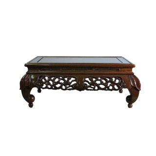 Medium Brown Stain Flower Carving Rectangular Display Table Stand For Sale