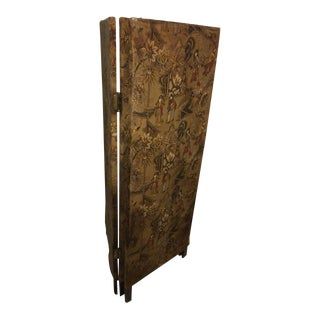 Vintage Oriental Fabric Screen Room 3 Panel Divider
