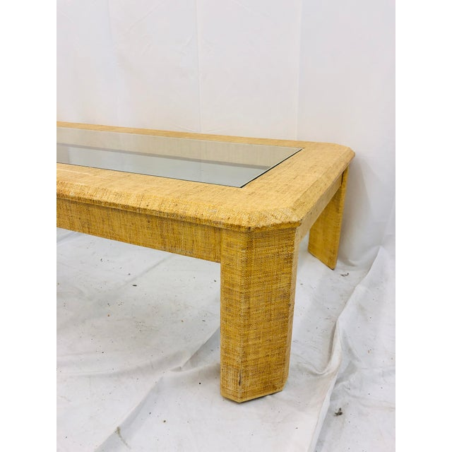 Vintage Grasscloth Wrapped Coffee Table For Sale In Raleigh - Image 6 of 10
