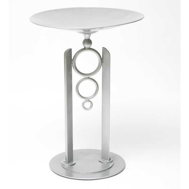 This is the ultimate modern and contemporary artisan bird bath with its simple cylindrical forms and powder-coated, silver...