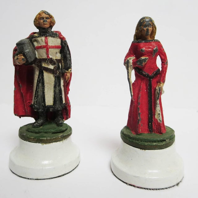 Chess Set With Painted Lead Medieval Figures on Lucite Board For Sale - Image 4 of 9