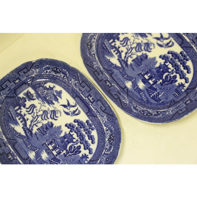 English Blue Willow Platters, Pair For Sale - Image 4 of 6