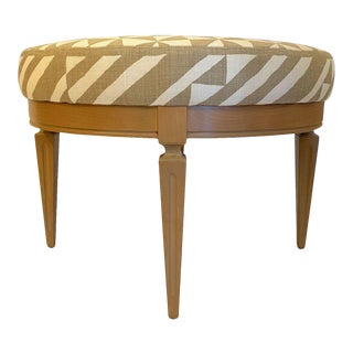 Vintage Wood Base and Geometric Upholstery Round Ottoman For Sale