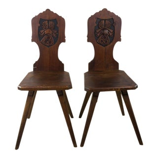 Gothic Revival Oak Hall Chairs - A Pair For Sale