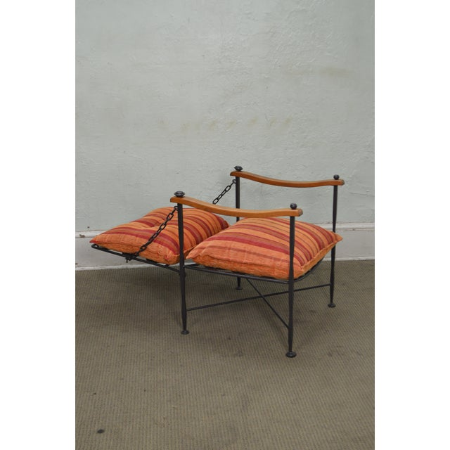 Hand Forged Steel Frame & Wood Frame Reclining Arm Chairs For Sale In Philadelphia - Image 6 of 10